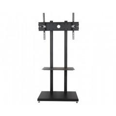 Sleek Metal TV Floor Stand with Shelf